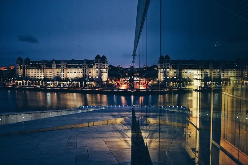 The Architect - 2017 EyeEm Awards Architecture Night Illuminated Reflection No People City Vscocam Fujifilm Fujifilm_xseries Fujifilm X-pro2 Oslo EyEmNewHere EyeEm Best Shots