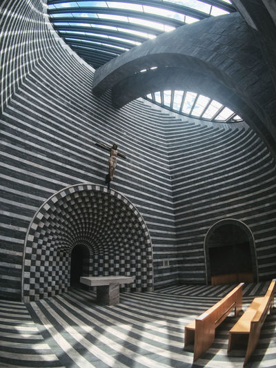 Mario Botta Mogno Travel Travel Photography Adult Arch Architectural Column Architecture Building Built Structure Ceiling Day Full Length Indoors  Metal One Person Pattern Real People Staircase Standing Sunlight Switzerland Walking Young Adult