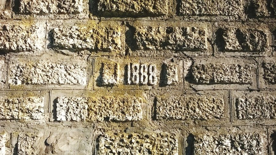 1888 Year 1888 Brick Wall Wall Old Wall EyeEmNewHere Backgrounds Textured  Pattern Text Architecture Written