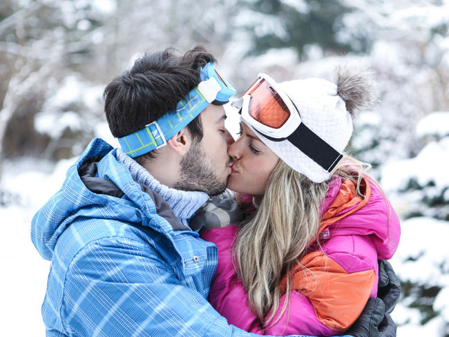 portrait of couple kissing in snow Adult Bonding Chill Christmas Closeness Clothing Cold Temperature Content Couple Couple - Relationship Face Fun Happy Hat HEAD Headshot Holiday Kiss Kissing Leisure Leisure Activity Lifestyles Love Man Outdoors Outside People Portrait Positive Emotion Scarf Season  Ski Holiday Ski Trip Smile Snow Together Togetherness Two People Warm Clothing White Winter Winter Holiday Woman Women Young Adult Young Men