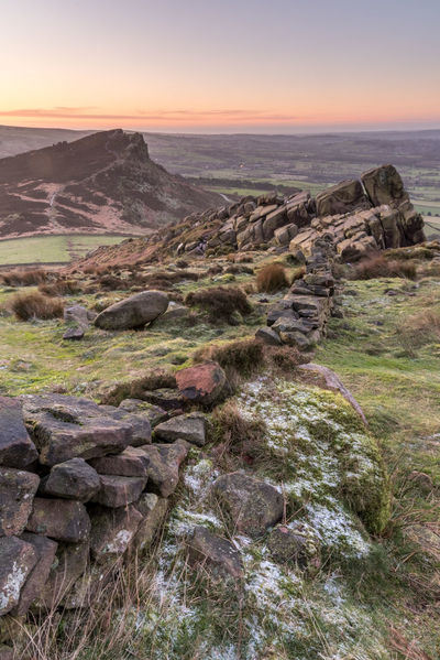 A frosty and very windy morning at the Roaches near Leek in Staffordshire. This was just before the sun rose. Clear Sky Colors Frost Landscape_Collection Rock Rocky Staffordshire Wall Beauty In Nature Colourful Sky Landscape Nature No People Peak District  Rock - Object Rocks Scenics Sky Stone Wall Sun The Roaches Leek Tranquil Scene Tranquility