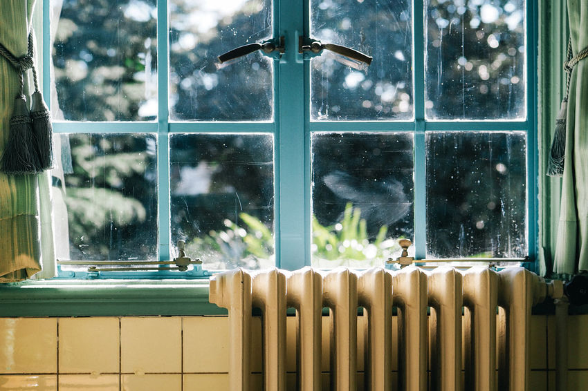 Close-up of Bathroom Interior in Old House Close-up Closed Window  Colour Image Condition Curtain Day Dust Dusty Heater Horizontal Indoors  Interior Interior Design Interior Views Japan No People Retro Tile Tree Warmth Window Yokohama