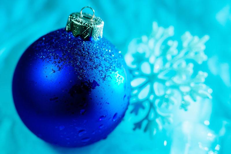 Close-Up Of Blue Christmas Decoration