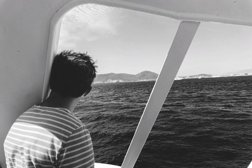 Bnw_friday_eyeemchallenge Water Water Everywhere Mare Nostrum Mode Of Transport Sea Water Mountain Watching People Photography People Watching Tranquility Scenics Landscape Transportation Solitude Window From My Point Of View Journey Travel OpenEdit Blackandwhite Waves Lifestyles Mediterranean  Mare Nostrum Sailor