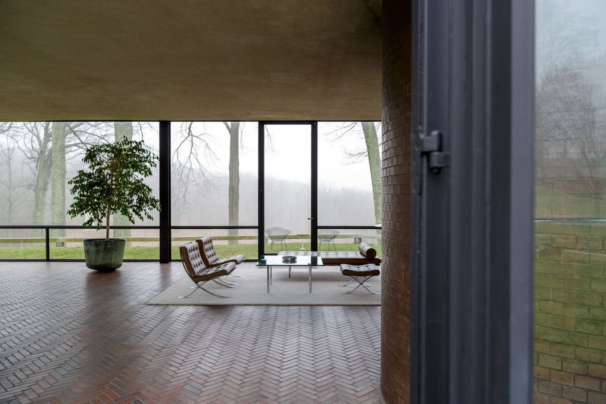 Philip Johnson's Glass House in New Canaan, Connecticut Absence Architectural Column Architecture Day Empty Glass House Growth Mid Century Architecture Mid Century Modern Modern Architecture Modernist Architecture Nature No People Philip Johnson Sky Window Window Sill Adapted To The City