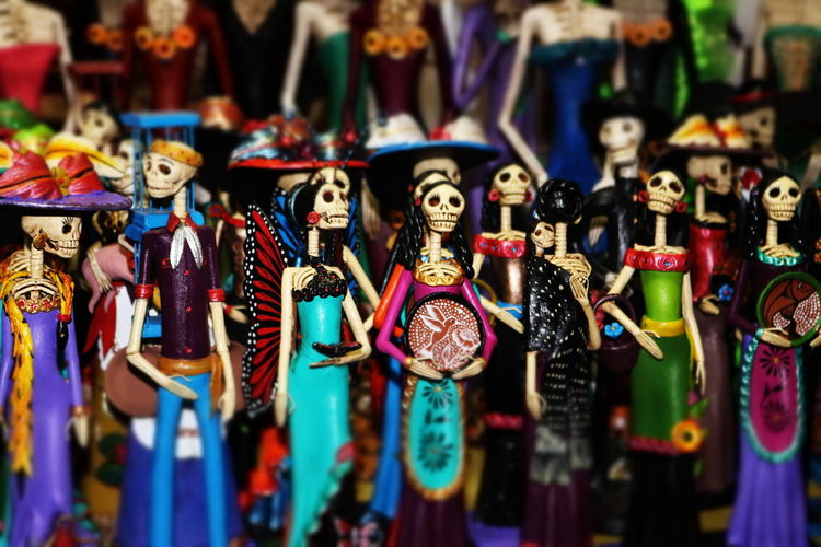Figurines for sale at market stall