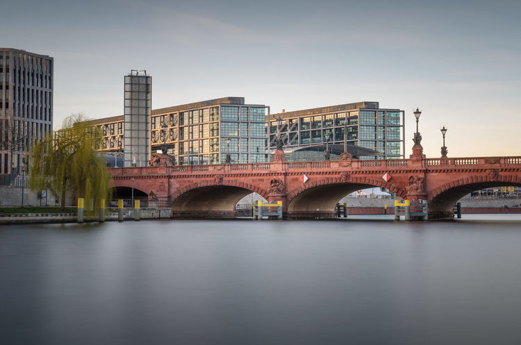 Spree Arch Architecture Bridge - Man Made Structure Building Exterior Built Structure City Connection Day Hauptbahnhof Berlin Long Exposure No People Outdoors River Sky Transportation Water