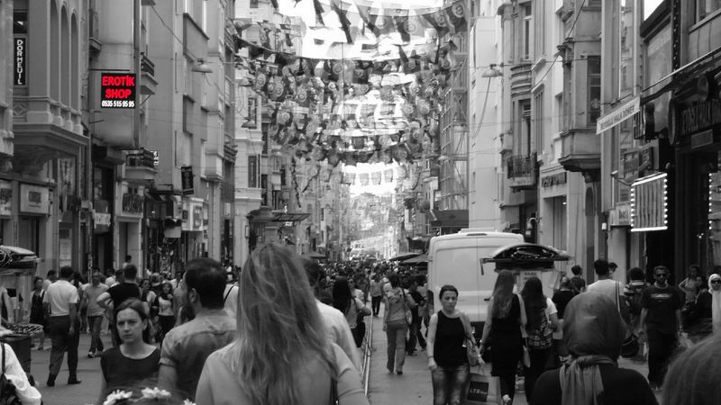 Black & White Blackandwhite Black And White City Discover Your City Walking Around The City  People Walking  Istiklal Caddesi Taksim Istiklal