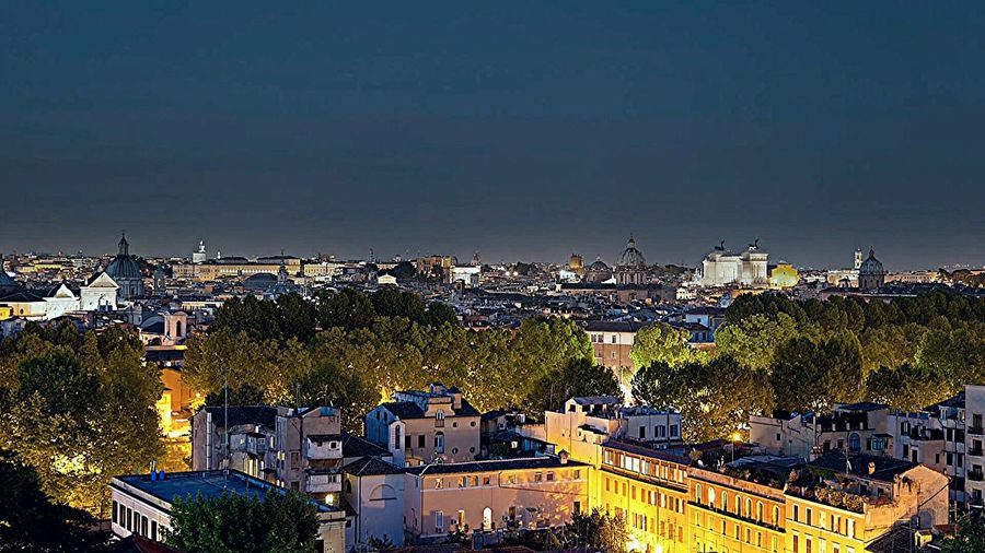 Rome By Night Rome Italy🇮🇹 Rome Colour Photography Built Structure In The Night Tranquility City Life Ancient Civilizations Architecture_collection Tourism Roof Garden Cityscape Multi Colored Night Illuminated Rome, Italy Moving Around Rome
