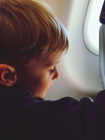 Boy Kids Travelling Plane Child The Tourist Feel The Journey On The Way People Together