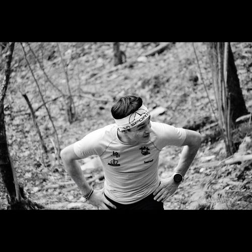 Trail running. Real People One Person Rear View Tree Lifestyles Day Outdoors Men Sky