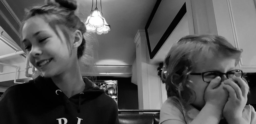 Indoors  Young Adult Child Fun At Dinner Indoors  Black And White Photography Sherwood Forest Autumn Smiles ツ  Hands On Mouth Beautiful Daughter💗😘 And Niece