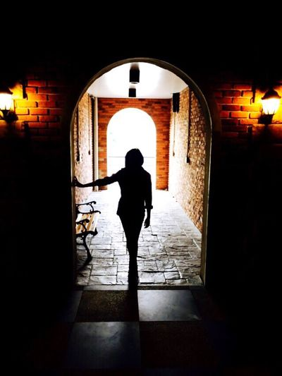 Alone in the dark🌜💫💫 Arch Architecture Built Structure Indoors  Silhouette Full Length Doorway One Person Woman Alone Alone Time Aloneinthedark Alone In The Dark Darkness And Light Darkness Light Lights