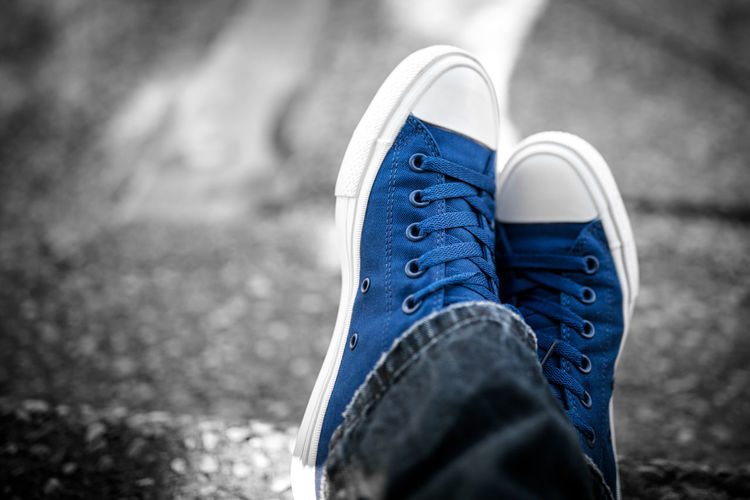 Low Section Human Leg Shoe Fashion Canvas Shoe Blue Jeans Personal Perspective Human Foot Limb Denim Footwear Foot Ground Feet Up First Eyeem Photo