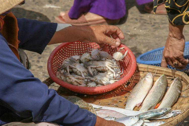 High angle view of fish at market