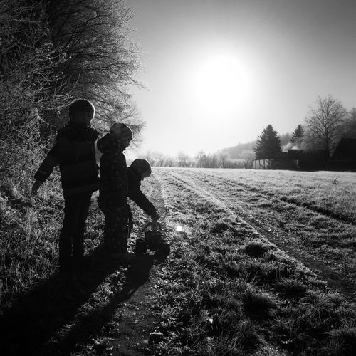 Blackandwhite Bnw Bnw_friday_eyeemchallenge Streetphoto_bw Backlight Back Light Silhouette BW Collection Bnw_collection Bnw Photography Bnw_society Bnw_life Bnw_captures Family Childhood Sunlight Outdoors Friendship IPhoneography Black And White EyeEm Best Shots - Black + White Showcase March