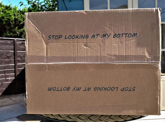 Stop looking at my bottom! Fabulous warning notice underneath the box carton container :-) Text Communication Western Script Cardboard Sign Box Container No People Cardboard Box Box - Container Non-western Script Script Close-up Paper Information Sign Day Brown Capital Letter Package Message Box Warning Sign Information