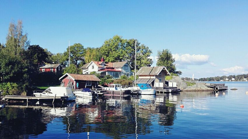 Water Day Outdoors Tree Nautical Vessel Building Exterior Stilt House Vacations Blue Architecture Clear Sky No People Sky Nature Sweden Sverige Scandinavia Vaxholm Huawei