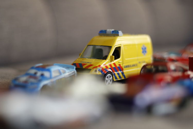 Close-up of toy cars on table