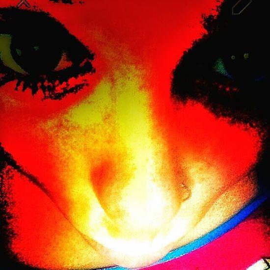 UltraGirl Close-up Creativity Illuminated Lifestyles Multi Colored Orange Color Portrait Real People Red