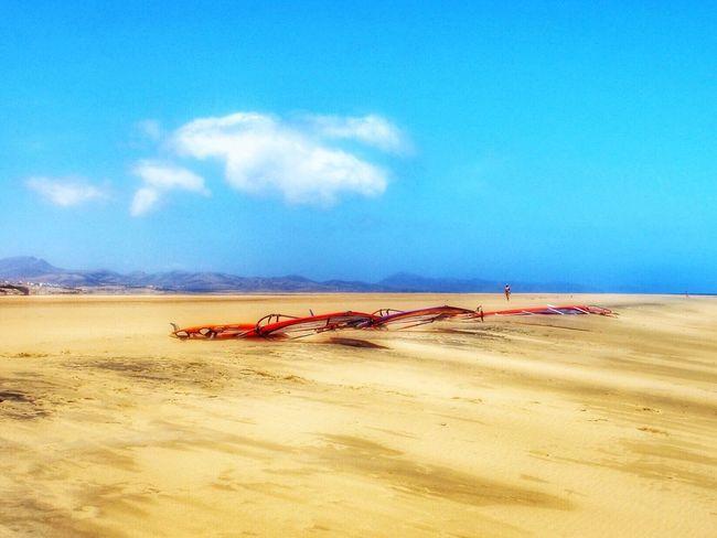 Surf's Up Windsurf Beach Beachlife Fuerteventura Sotavento Skyline Travel Relax Waiting The Wind Spain_greatshots Sky Clouds