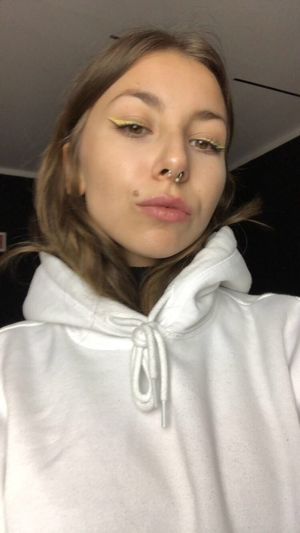 No filter, just a lil blurry. Septum Yellow Eyeliner One Person Portrait Front View Young Women Headshot Young Adult Indoors