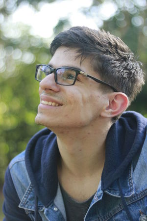 Close-up College Day Eyeglasses  Future Geek Glasses Happy Intelligent Leisure Activity Lifestyles Looking Up Man Model Nature One Person Outdoors Portrait Real People Smart University Young Adult