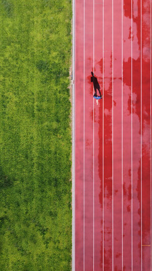High angle view of man on field