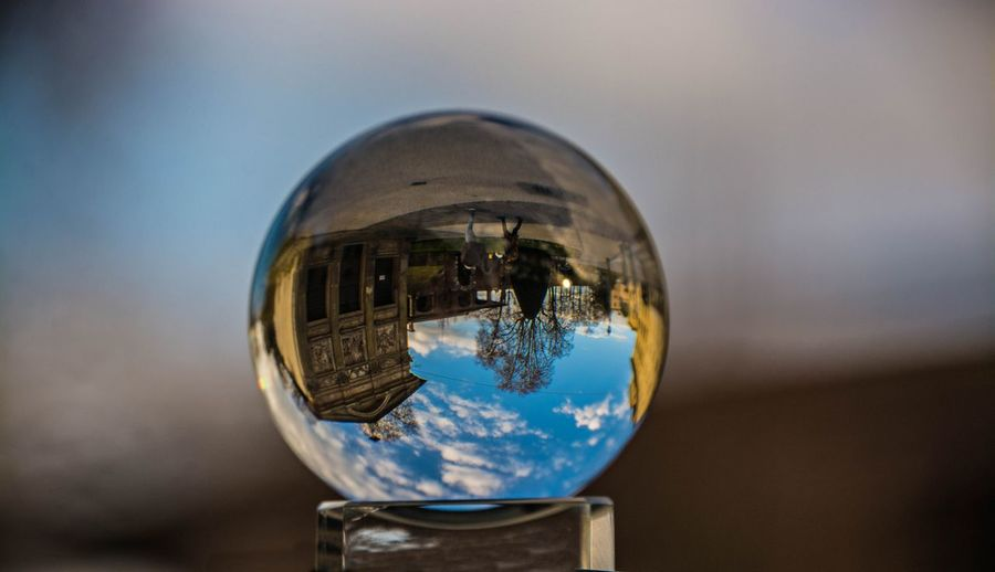 Reflection of buildings in crystal ball