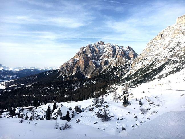 Snow Winter Mountain Beauty In Nature Cold Temperature Nature Tranquil Scene Valparola Sky Blue Sky Scenics Mountain Range Tranquility