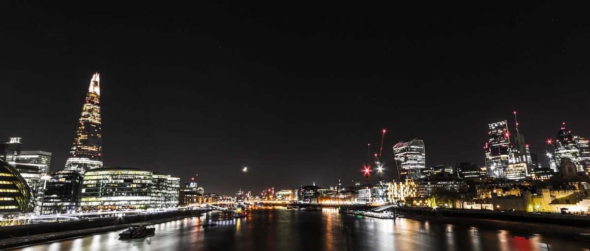 Architecture Building Exterior Built Structure City Cityscape Illuminated Modern Night No People Outdoors River Riverbank Riverside Sky Skygarden Skyscraper Thames Thames River The Shard Tower Travel Destinations Urban Skyline Water Waterfront Wide Angle