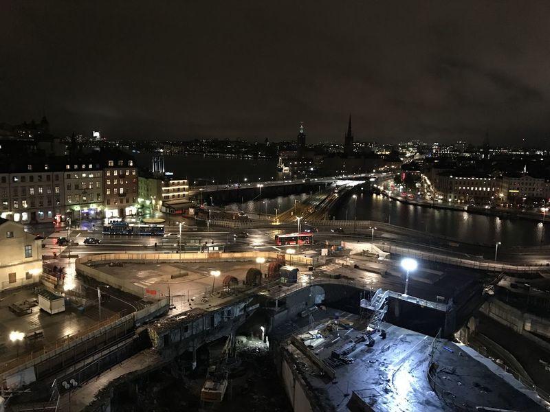 Architecture Built Structure City Cityscape High Angle View Illuminated Light Lights Night No People Sky Slussen Stockholm Transportation