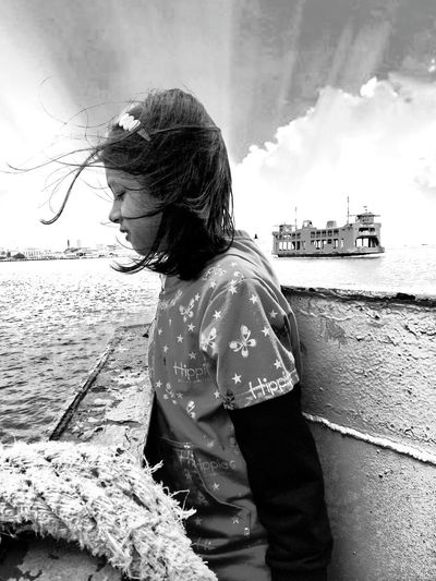 Penang ferry Childhood One Girl Only Outdoors Water EyeEm Best Edits Edited Memories Penangferry Rear View Sky