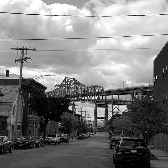 The (Mystic) Tobin Bridge. Built Structure Cantilever Truss Bridge Bridge Connection Bridge - Man Made Structure Mystic River Transportation Car Mode Of Transport Land Vehicle Electricity Pylon Road Street Electricity  Building Exterior Cloud - Sky City Street Photography Parking Cable Power Line  The Way Forward B&w Edit EyeEm Best Shots - Black + White Monochrome Photography S6