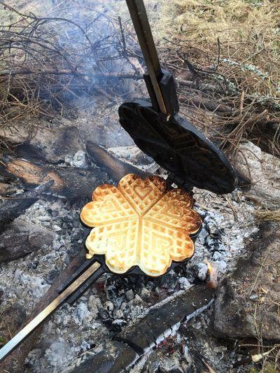Outdoor waffles Bonfire Waffle Waffles Fire Nature Outdoor Life Waffle Maker Waffle Making :D