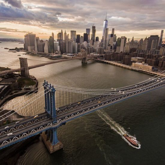 Aerial View Architecture Bridge - Man Made Structure Building Exterior Built Structure City City Life Cityscape Cloud - Sky Development Downtown District Drone  Futuristic High Angle View Modern New York City No People NYC Outdoors Sky Skyscraper Sunset Travel Travel Destinations Urban Skyline