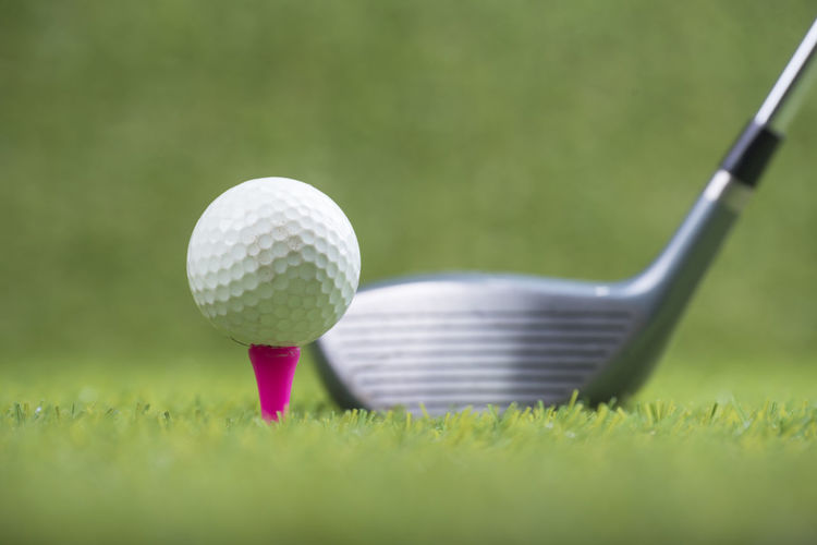 Close-up of ball on golf course