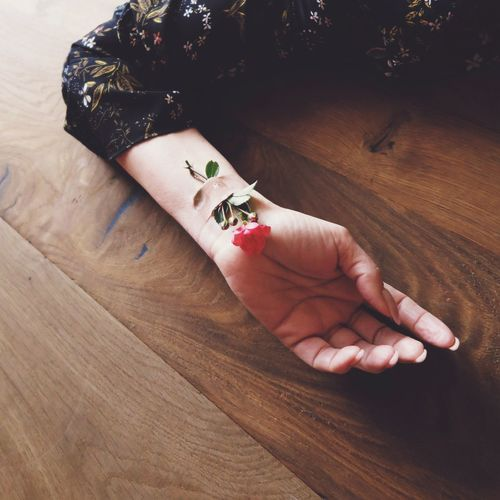 High angle view of woman with rose and bandage on hand