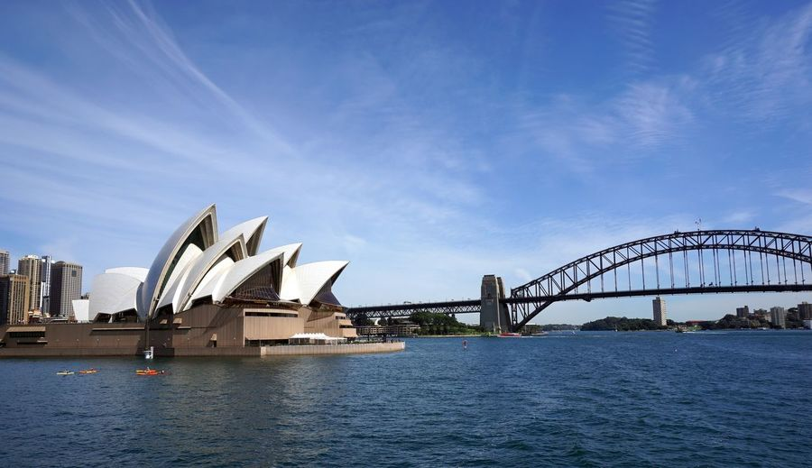 sydney Architecture Arts Culture And Entertainment Blue Bridge - Man Made Structure Building Exterior Built Structure City Cityscape Day Harbor Modern No People Outdoors Scenics Sea Sky Travel Travel Destinations Water