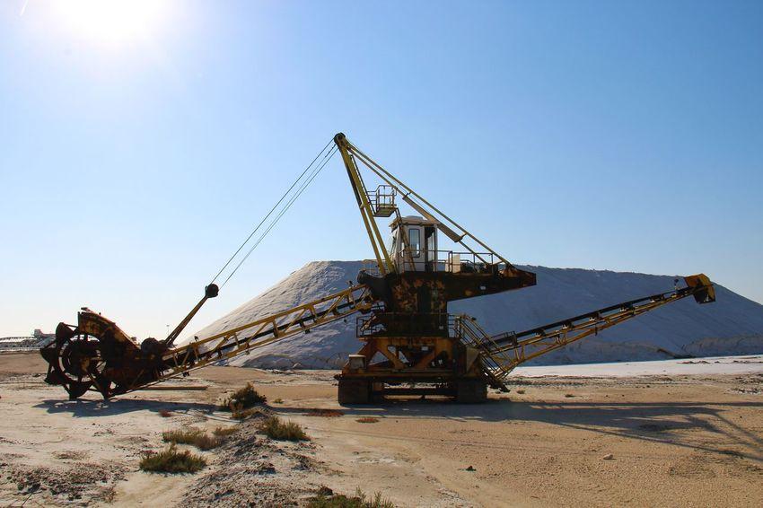 Salt Salt Industry Work Gear  Provence France Camargue Salt Mountain Sky Clear Sky Sea Manufacturing Equipment Sunlight