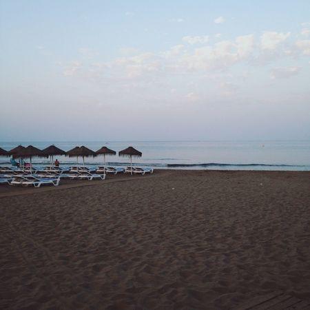 SPAIN Benalmádena, Malaga, Spain Beach Beachphotography Beachlife Evening Blue Blues Umbrellas Sand Sea Ocean Waves