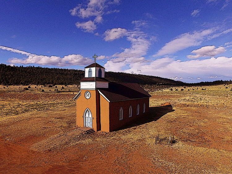 San Rafael Mission Church in La Cueva NM Spanish Mission Architecture Building Exterior Built Structure Catholic Arcitecture Catholic Church Cloud - Sky Day Landscape Mission Church Mountain Nature No People Outdoors Sky Spanish Arquitecture