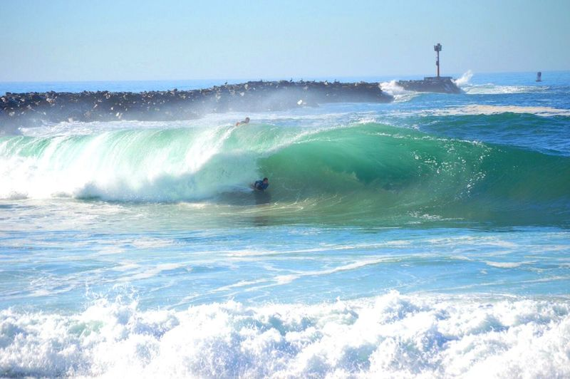 Waves splashing on beach