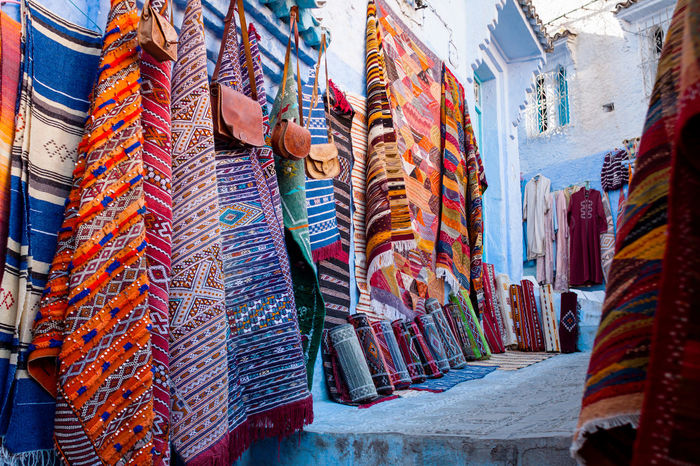 Bazaar Travel Photography Carpets Chaouen Chefchaouen Choice Close-up Craft Day For Sale Hanging Large Group Of Objects Market Market Stall Moroccan Style Morocco Multi Colored No People Outdoors Retail  Tourism Travel Destinations Variation Xaouen