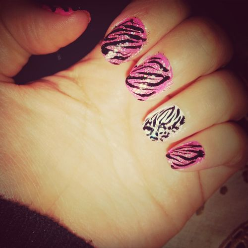 White My Nails :) Pink! Last Week Cheetah/zebra Print