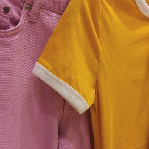 Fashion Clothing Backgrounds No People Yellow Close-up Indoors  Day Casual Clothing Pink H&M Shopping
