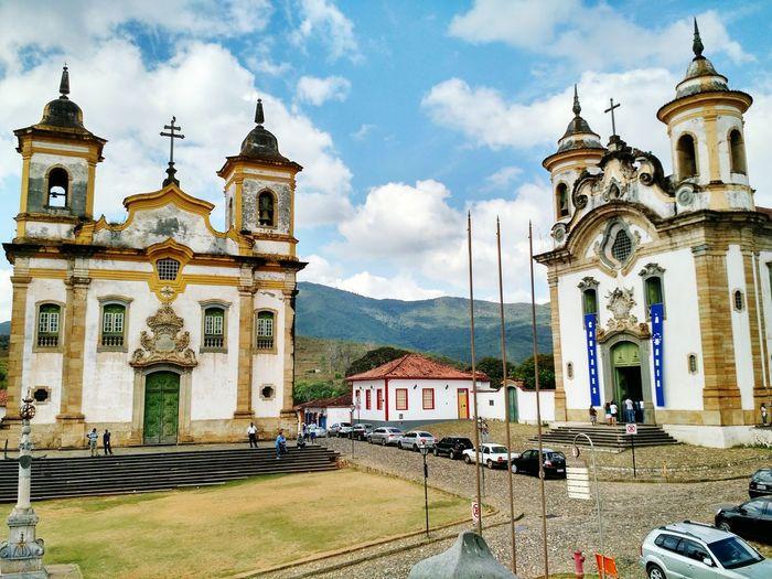 Historic churches against sky
