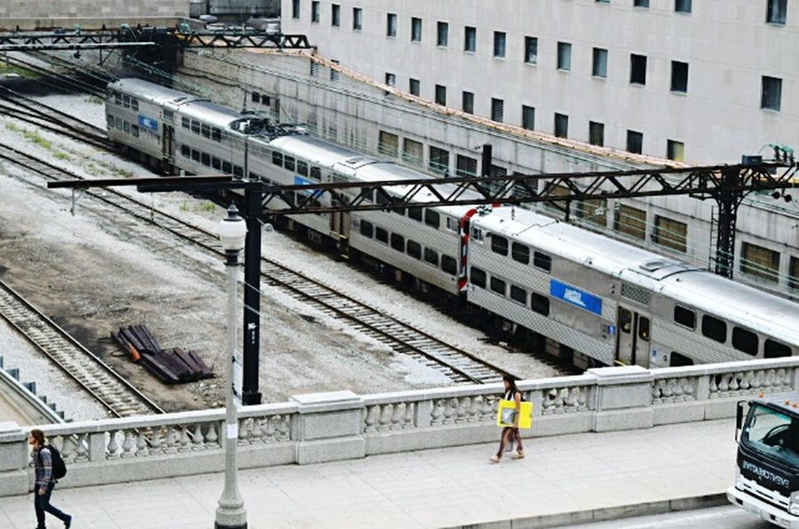 Architecture Built Structure Building Exterior High Angle View City Transportation Street City Life Day Outdoors Office Building Metra Train Metra Looking Down Transportation Railroad Track Chicago