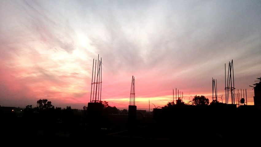 Sunset Pink Color Nature Outdoors Sky Cloud - Sky Silhouette Factory Tree No People Industry Technology Science Egyptian Countryside Sunlight Sun Egypt Roof