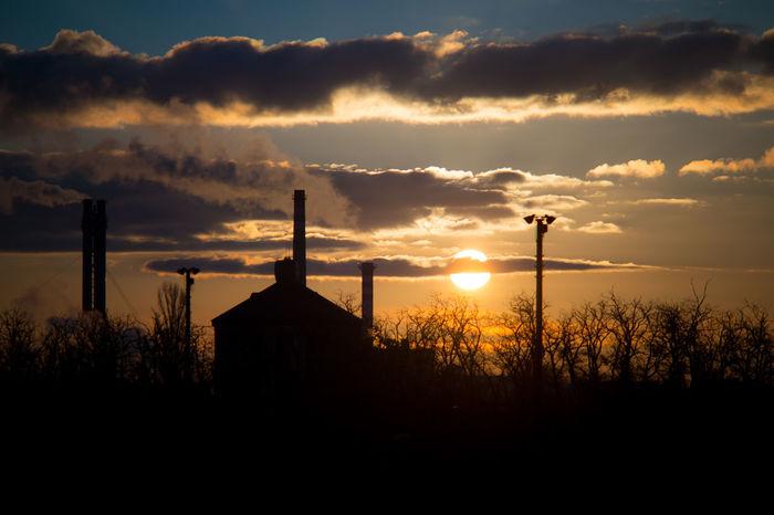 Air Pollution Industry Sun Rise Cloud - Sky Silhouette